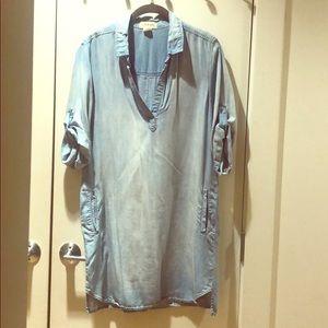 Anthropologie Soft Denim Wash Shirt Dress